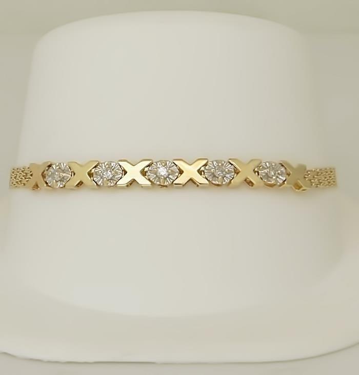 10k YELLOW GOLD XO 1/10ct ROUND DIAMOND MESH LINK