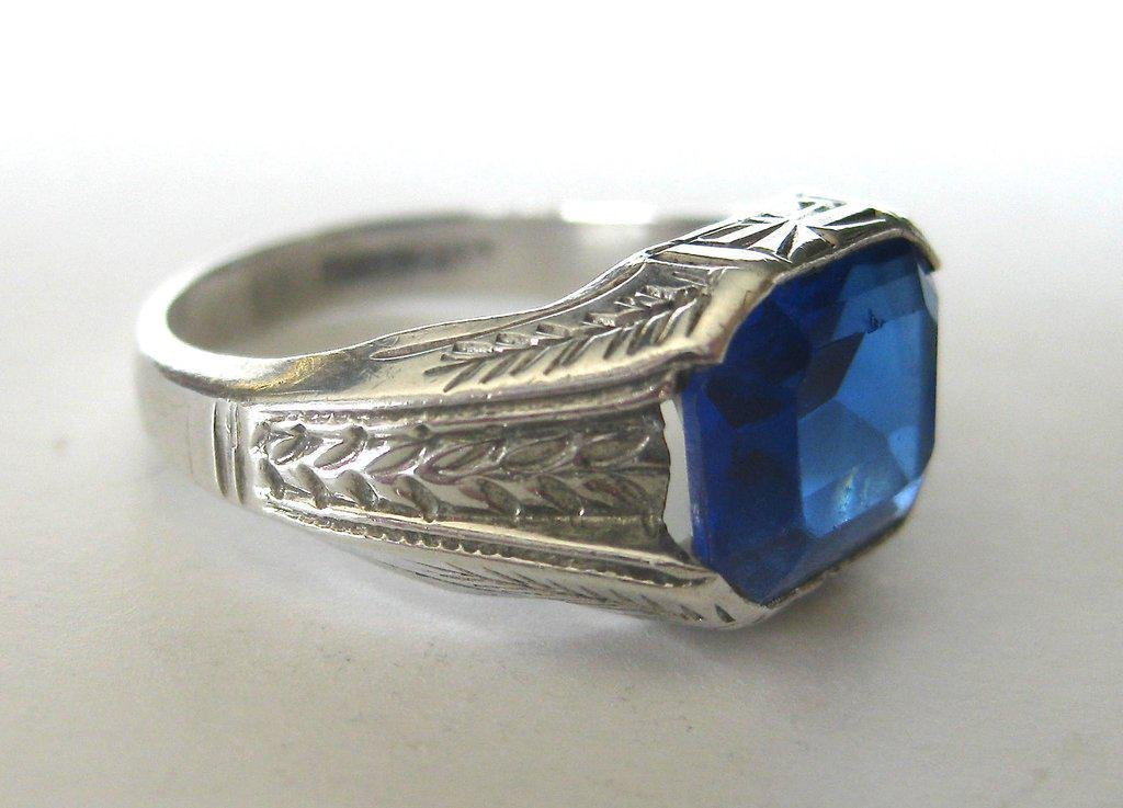 Art-Deco Sterling Silver & Sapphire Blue Paste Ring