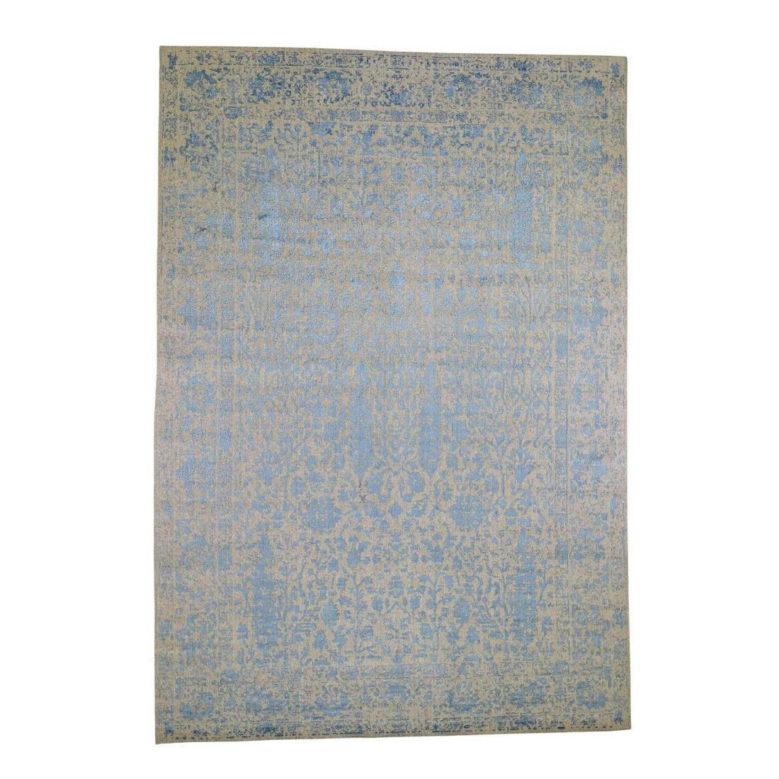 Blue Broken Cypress Tree Design Thick Hand-Loomed