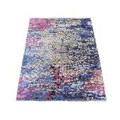Multicolored Hand Knotted Wool And Silk Mosaic Design