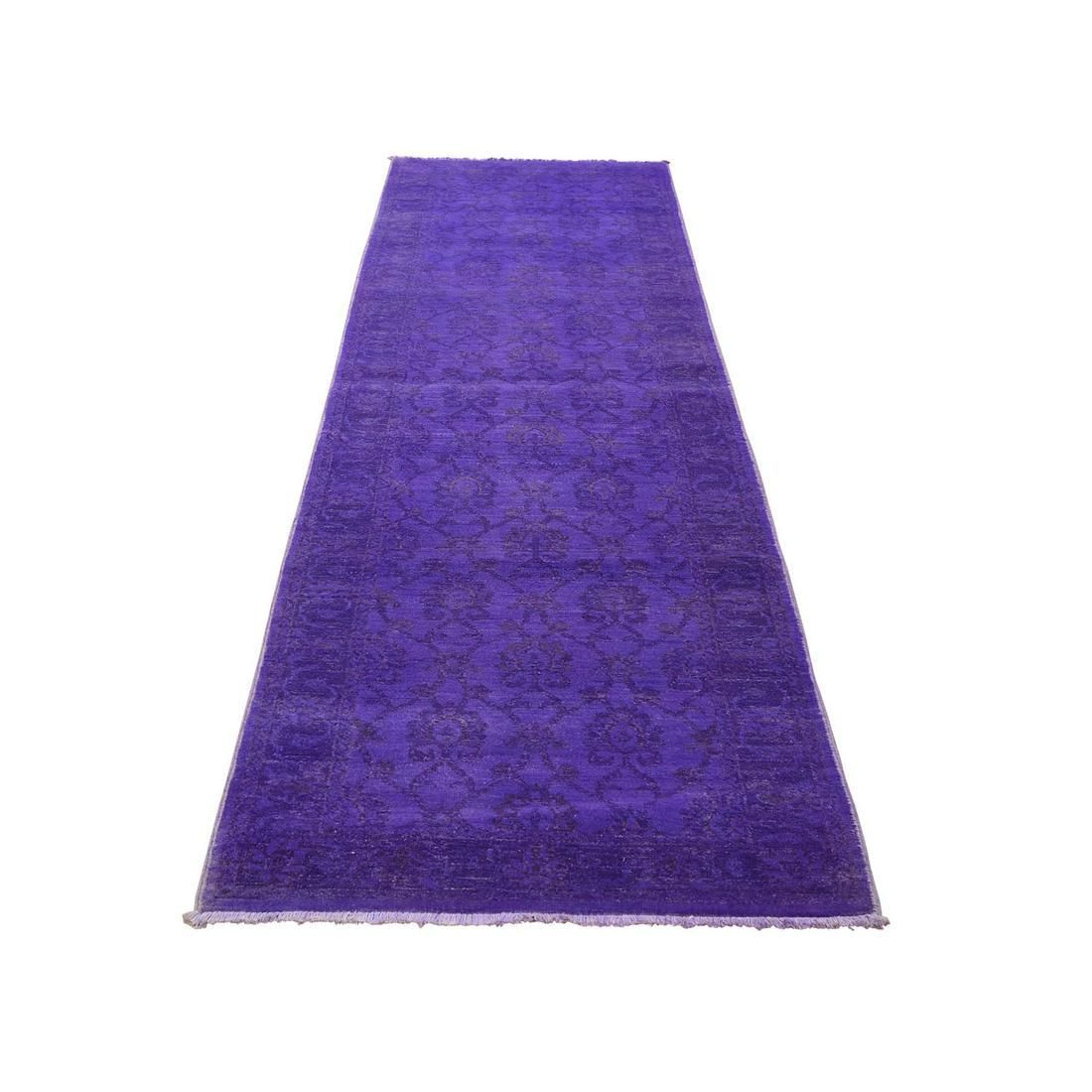 Overdyed Peshawar Pure Wool Purple Hand Knotted Runner