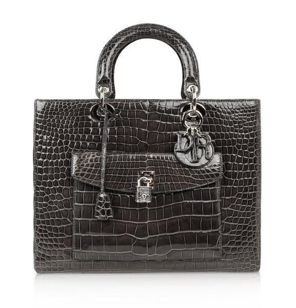 Christian Dior Bag Medium Lady Dior Front Pocket Gray
