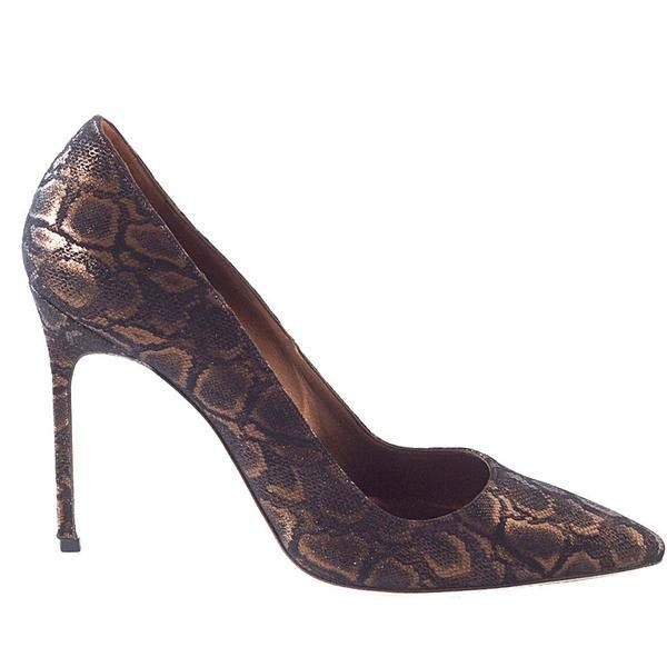Manolo Blahnik Shoe Coppery Bronze Faux Python Pump 39