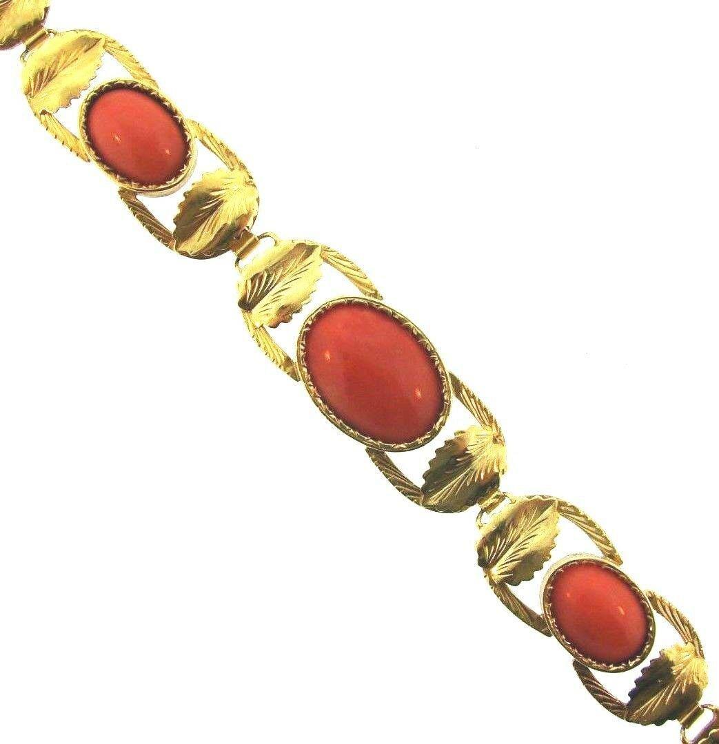 WOW Art Nouveau 18k Yellow Gold & Coral Bracelet