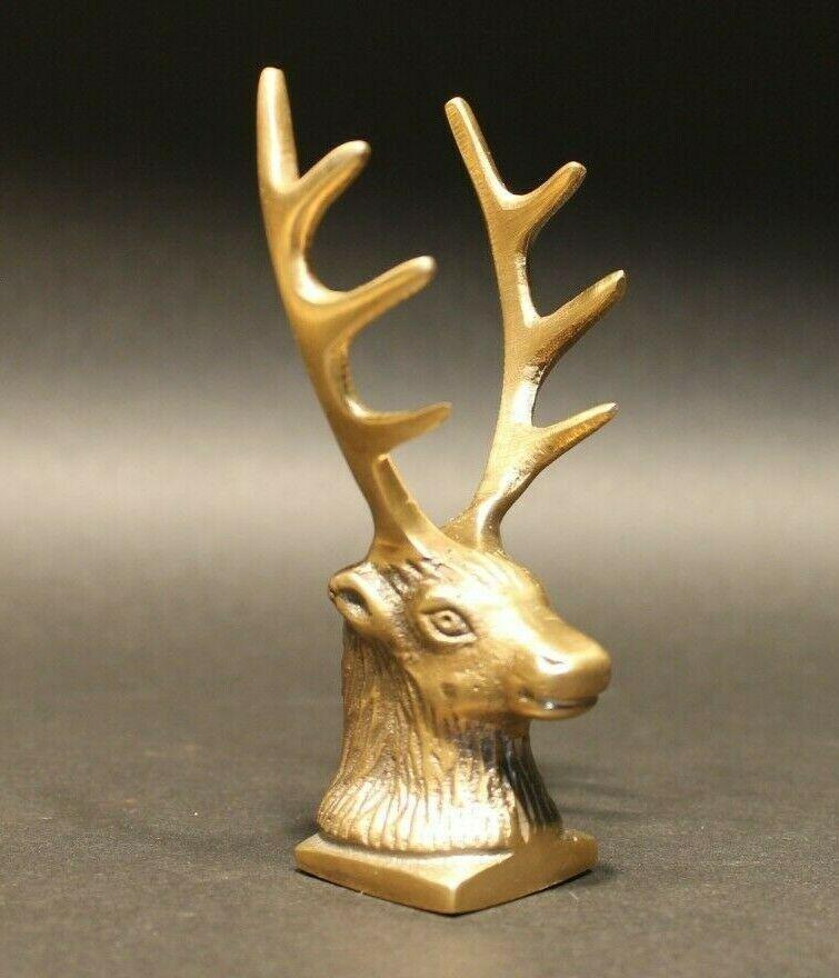 Brass Elk Deer Stag Pen Holder Desk Stand