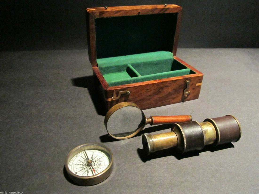 Magnifying Glass Compass Telescope Box Field Kit