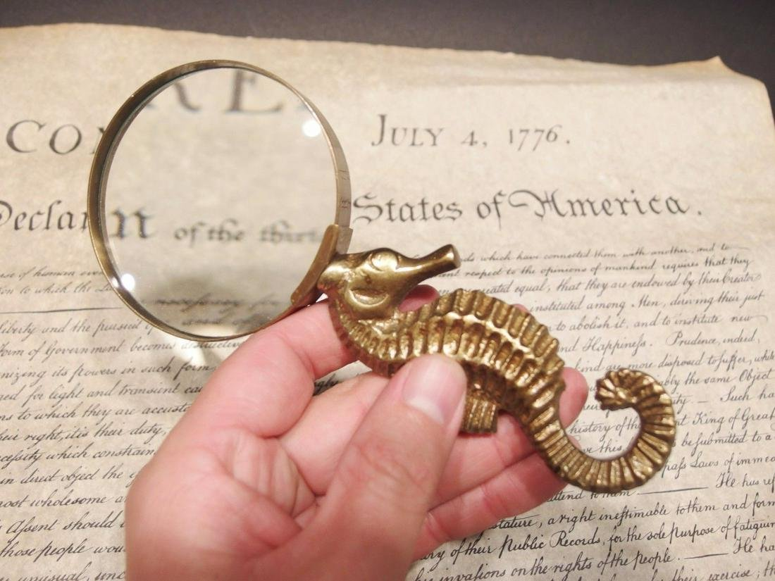 Brass Seahorse Magnifying Glass Desk Hand Lens