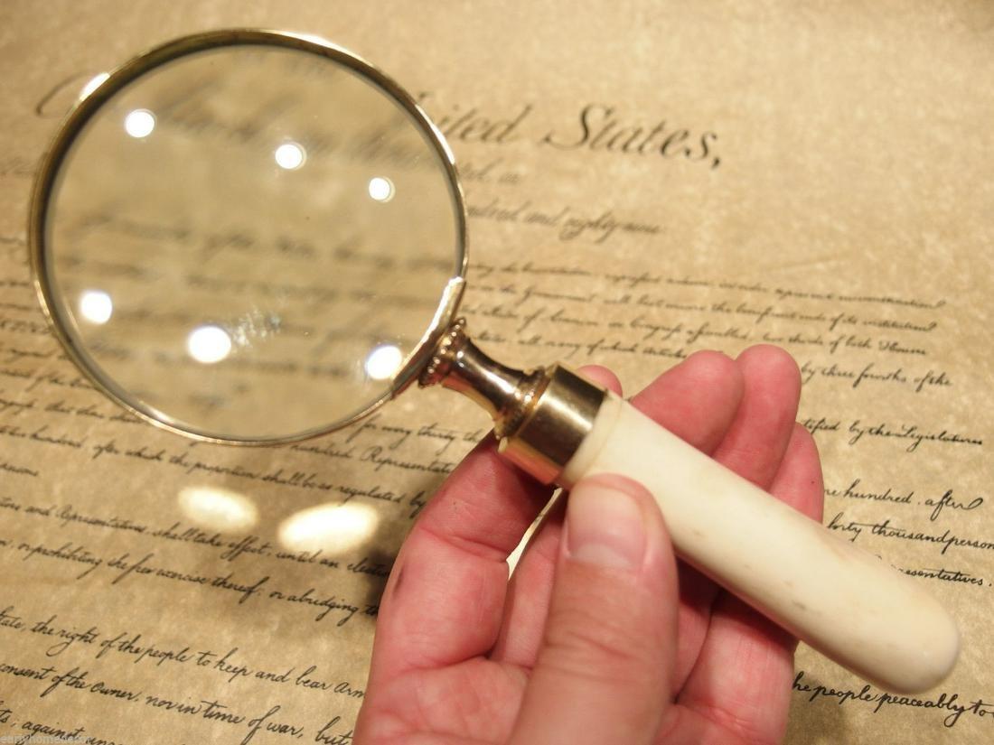Brass Bone Handle Magnifying glass Desk Magnifier