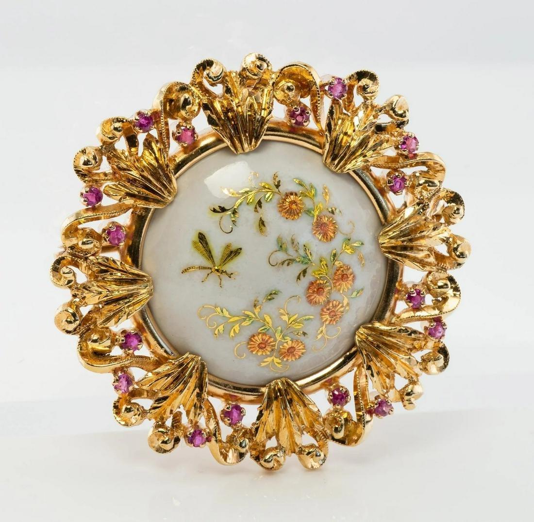Art Nouveau Ruby Brooch Flower Pendant 18K Gold Enamel