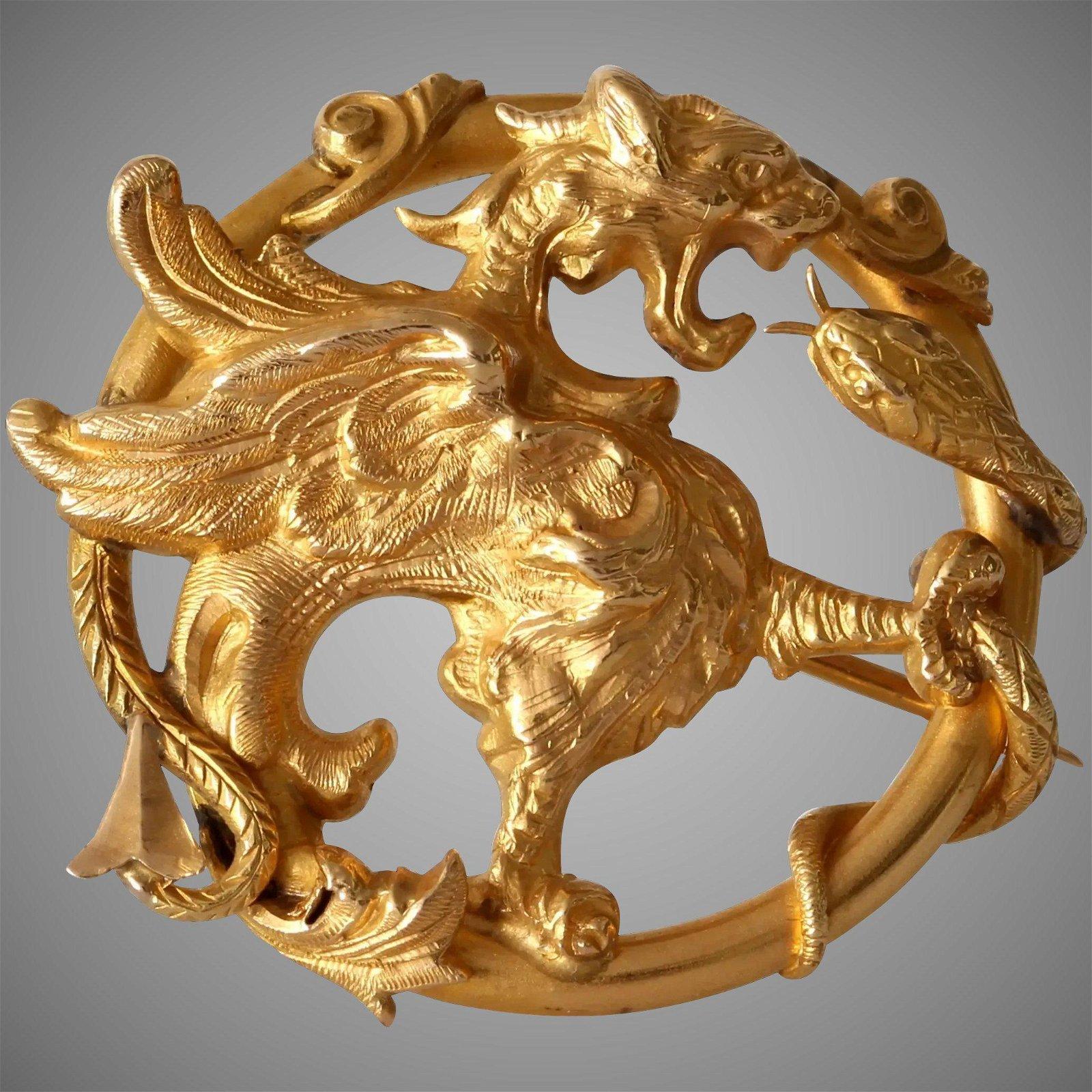 Art Nouveau Winged Lion Brooch   18K Gold Griffin  