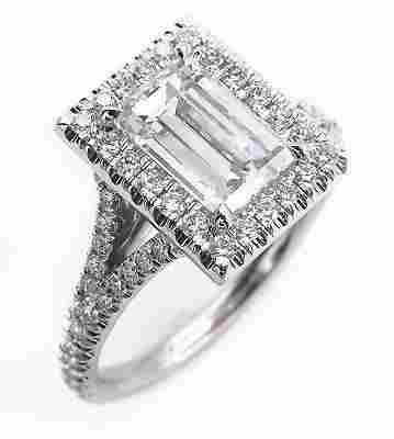 GIA 2.14ct Estate Vintage Carrè Emerald Diamond Halo