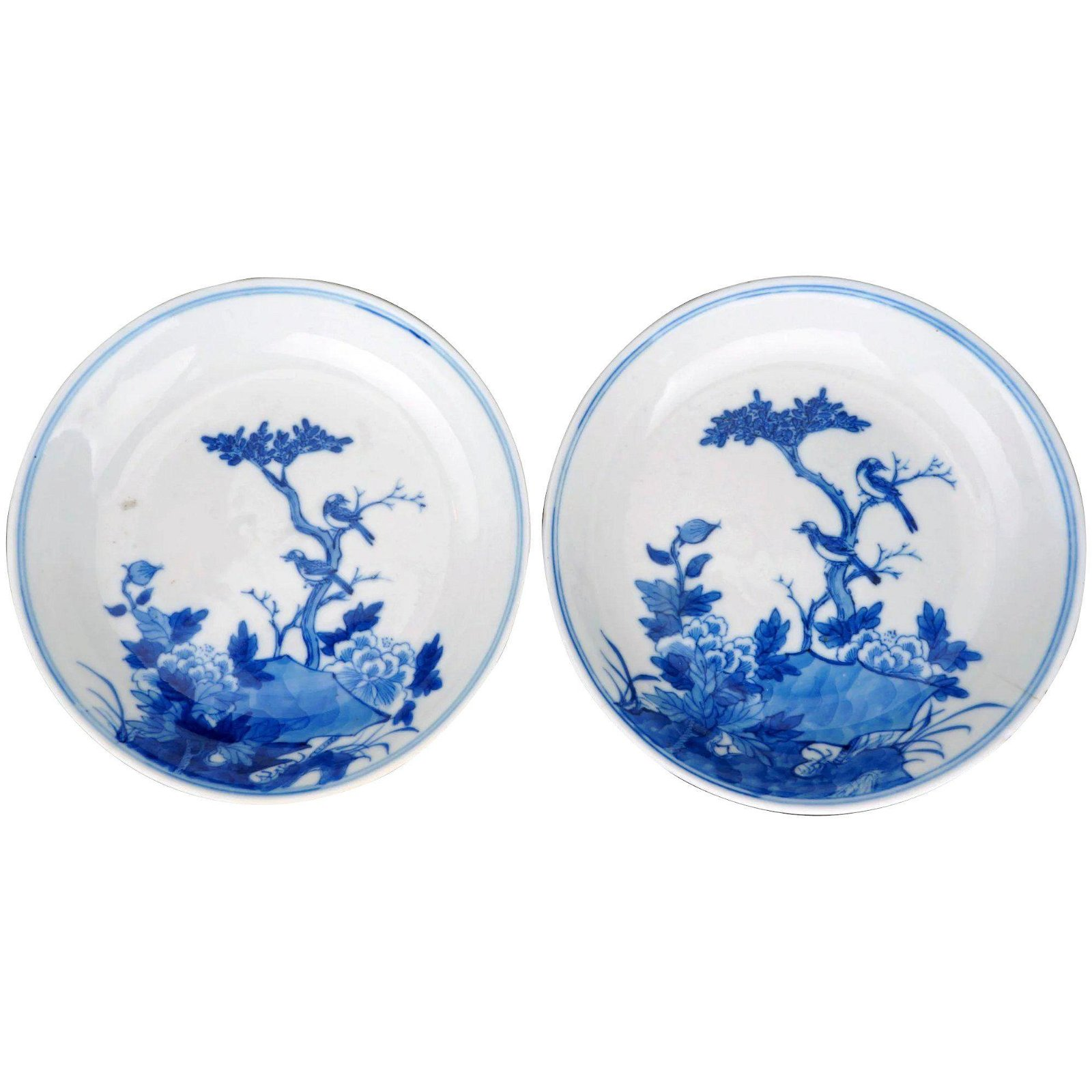 Qing Pair Chinese Porcelain Blue White Saucers