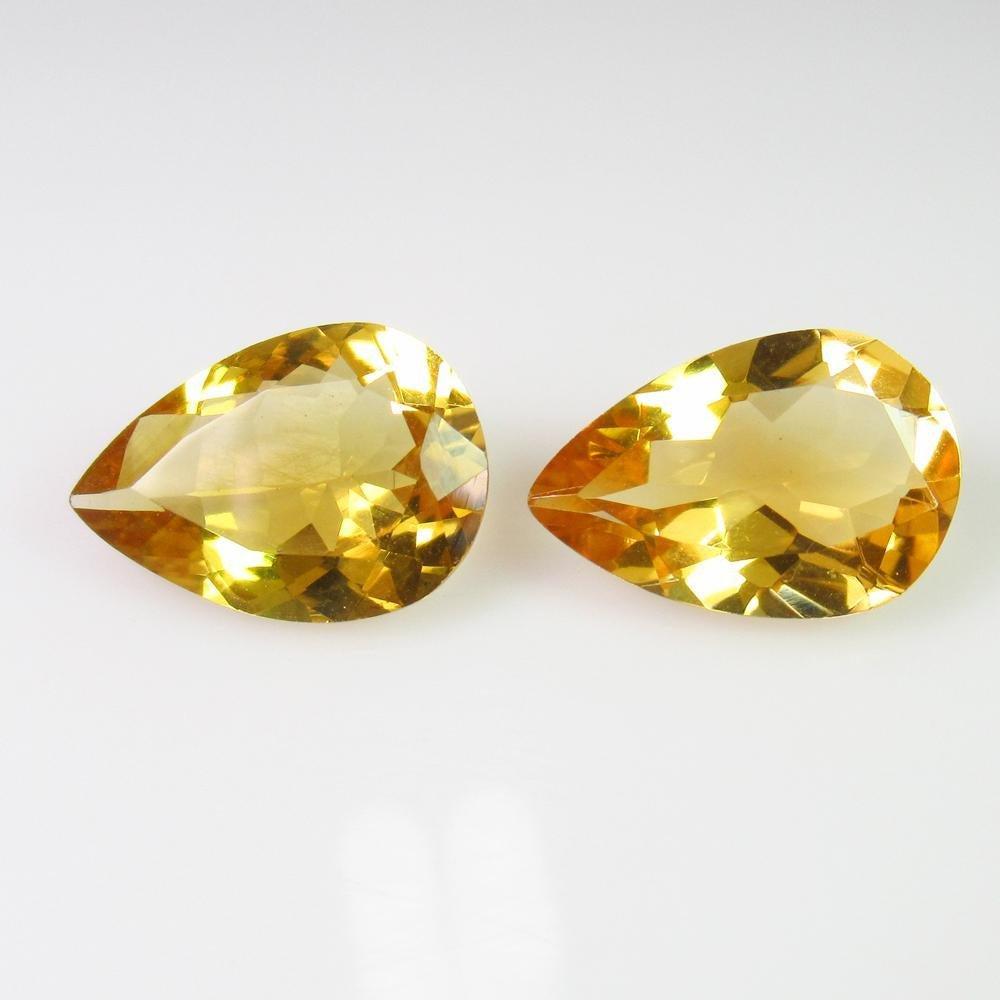 7.25 Ct Genuine Yellow Citrine Pear Pair