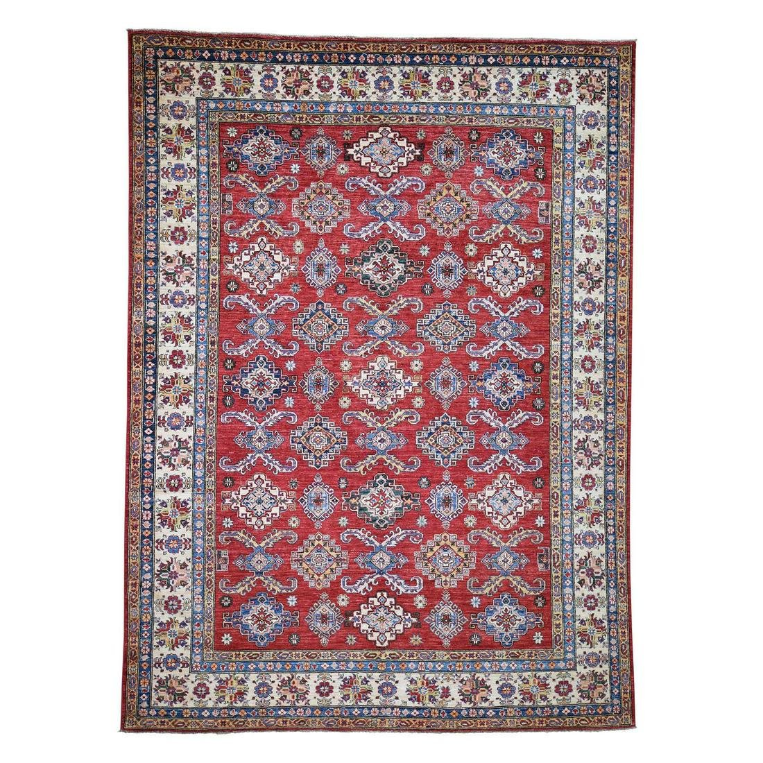 Super Kazak Pure Wool Geometric Design Hand-Knotted