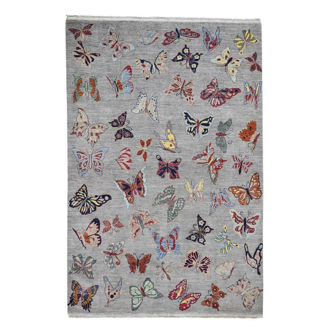 Butterflies Design Pure Wool Hand-Knotted Oriental Rug