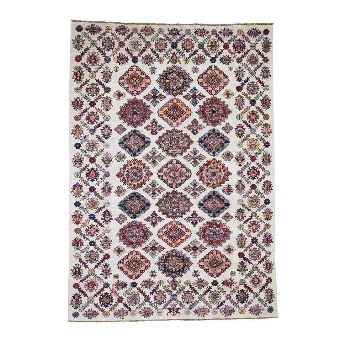 Ivory Super Kazak Pure Wool Hand-Knotted Oriental Rug