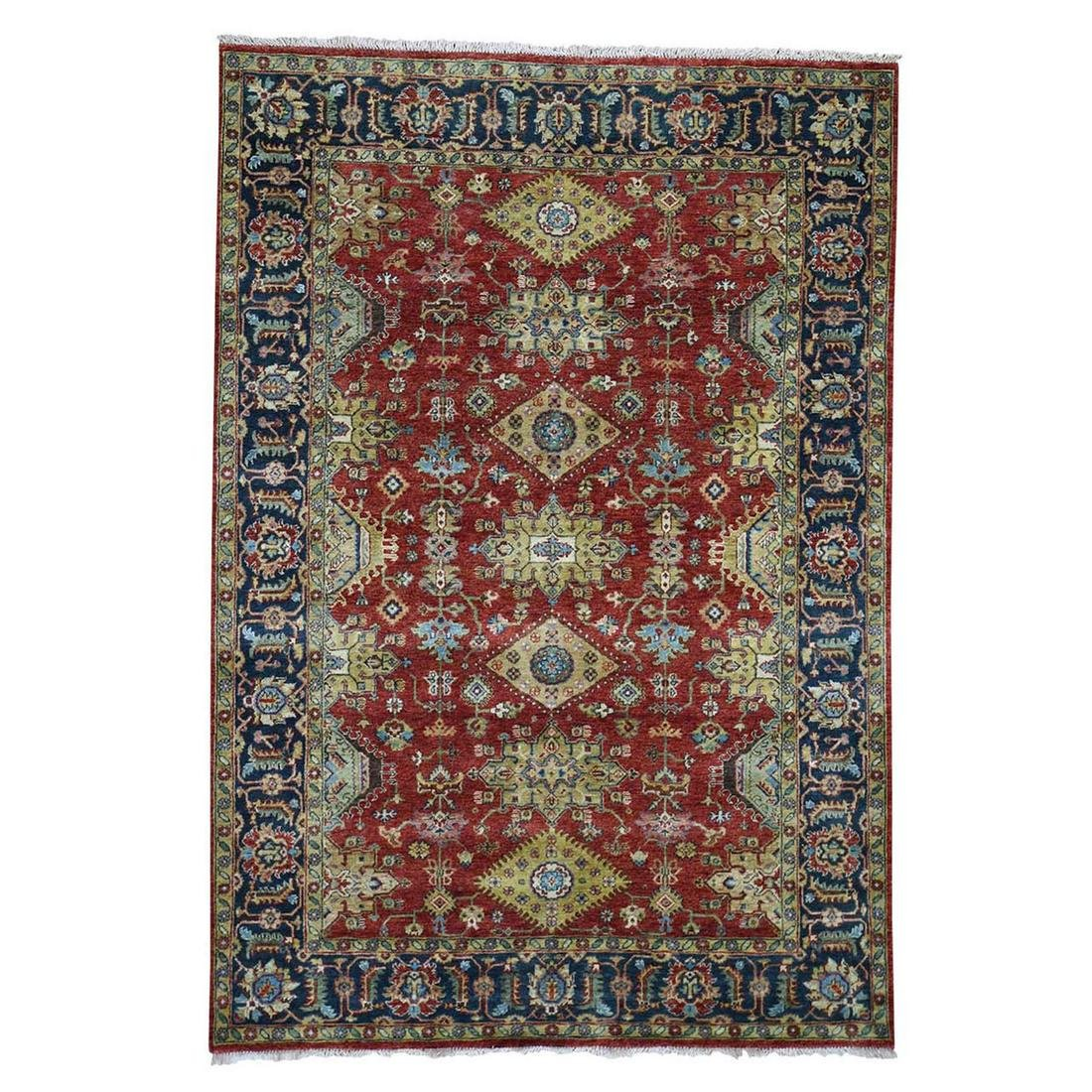 Red Karajeh Design Pure Wool Hand-Knotted Oriental Rug