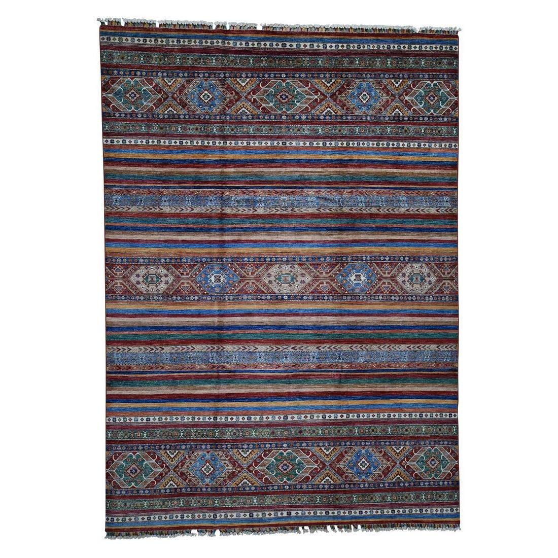 Super Kazak Khorjin Design Hand-Knotted Pure Wool Rug
