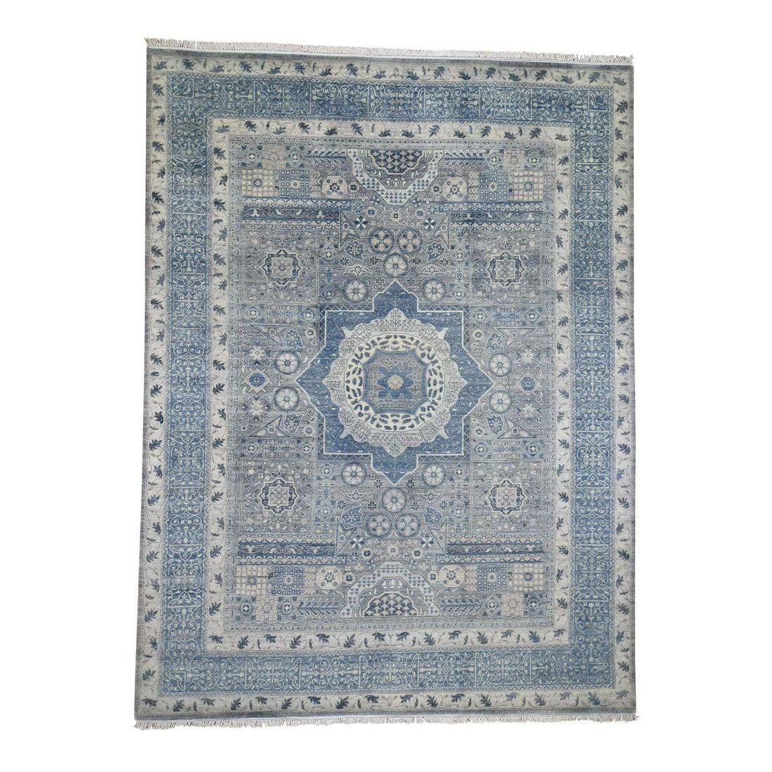 Blue Pure Wool Mamluk Design Hand-Knotted Oriental Rug