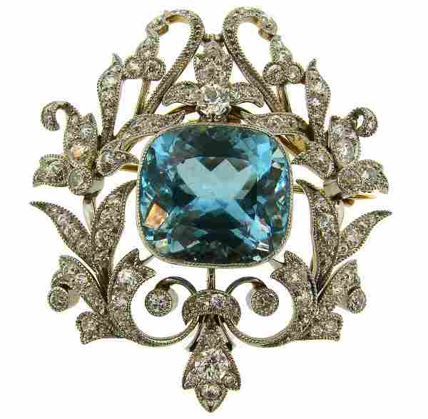 BLACK, STARR and FROST Aquamarine Diamond Platinum Gold