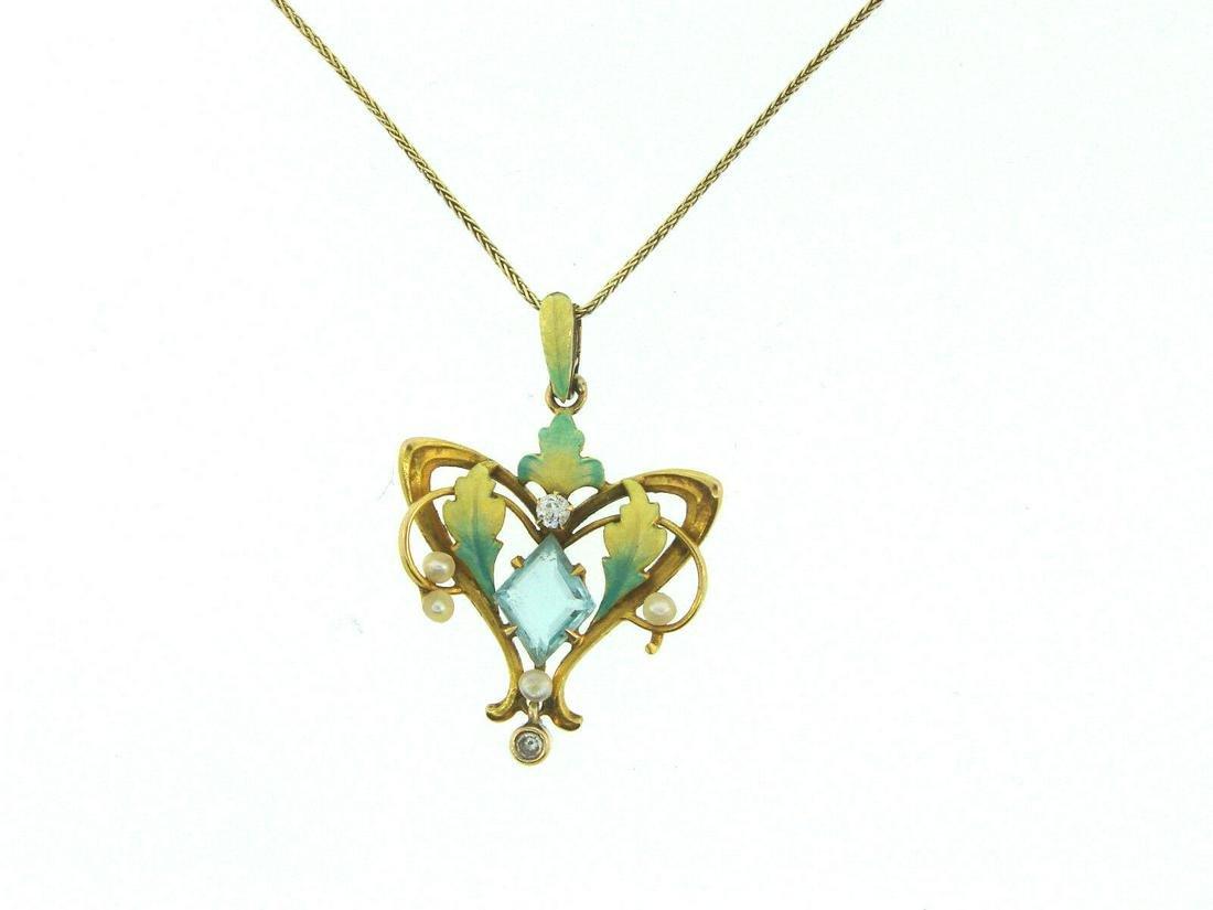 Art Nouveau Enamel and Diamond and Pearl 14k Yellow