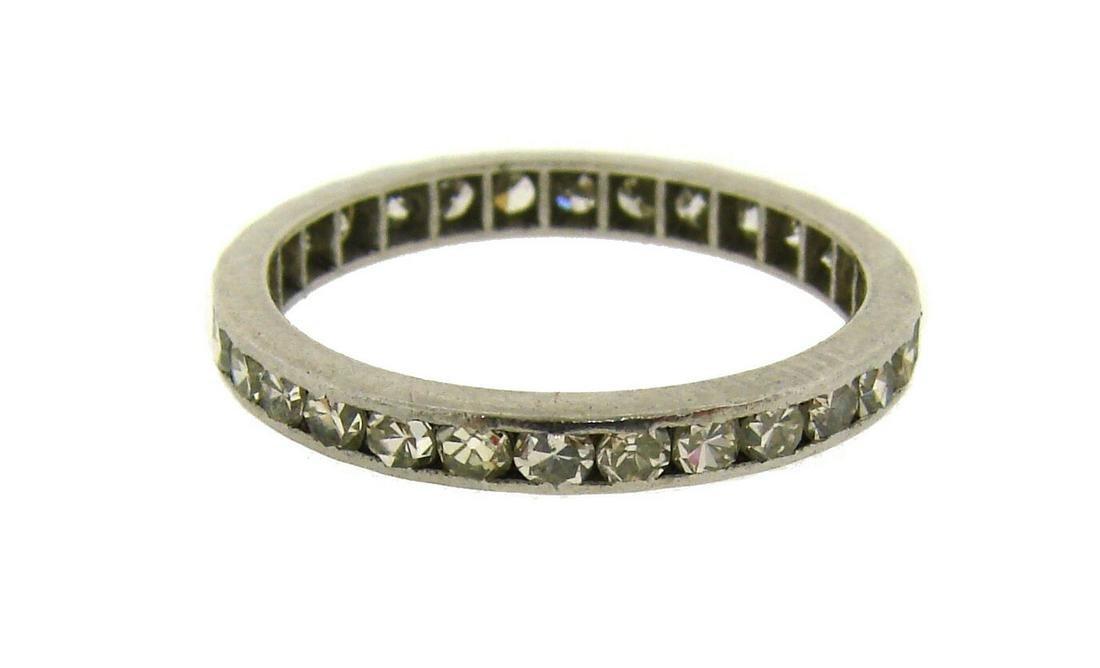 1920s DIAMOND PLATINUM ETERNITY BAND RING WEDDING Art