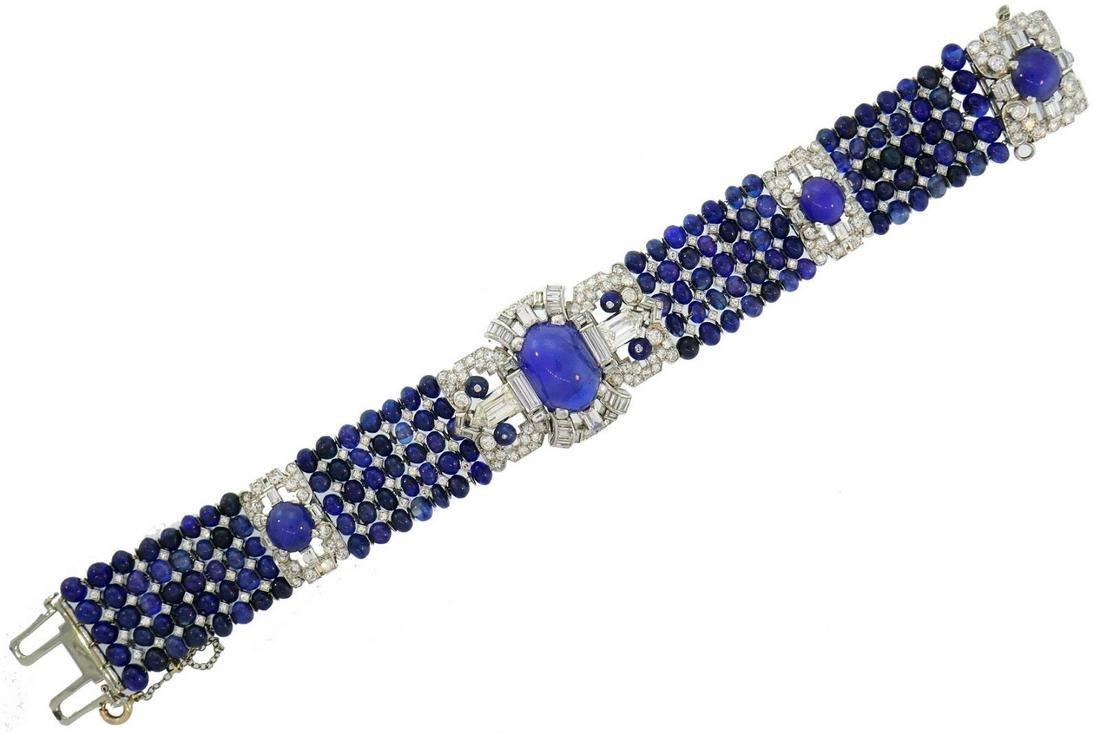 Star Sapphire Diamond Platinum BRACELET 1930s Art Deco
