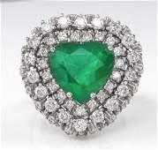 GIA 6.89ct Estate Vintage Brazilian Green Emerald