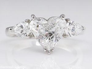 GIA 2.71ct Estate Vintage Heart Diamond 3 Stone