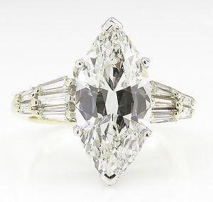 5.20ct Estate Vintage Marquise Diamond Engagement