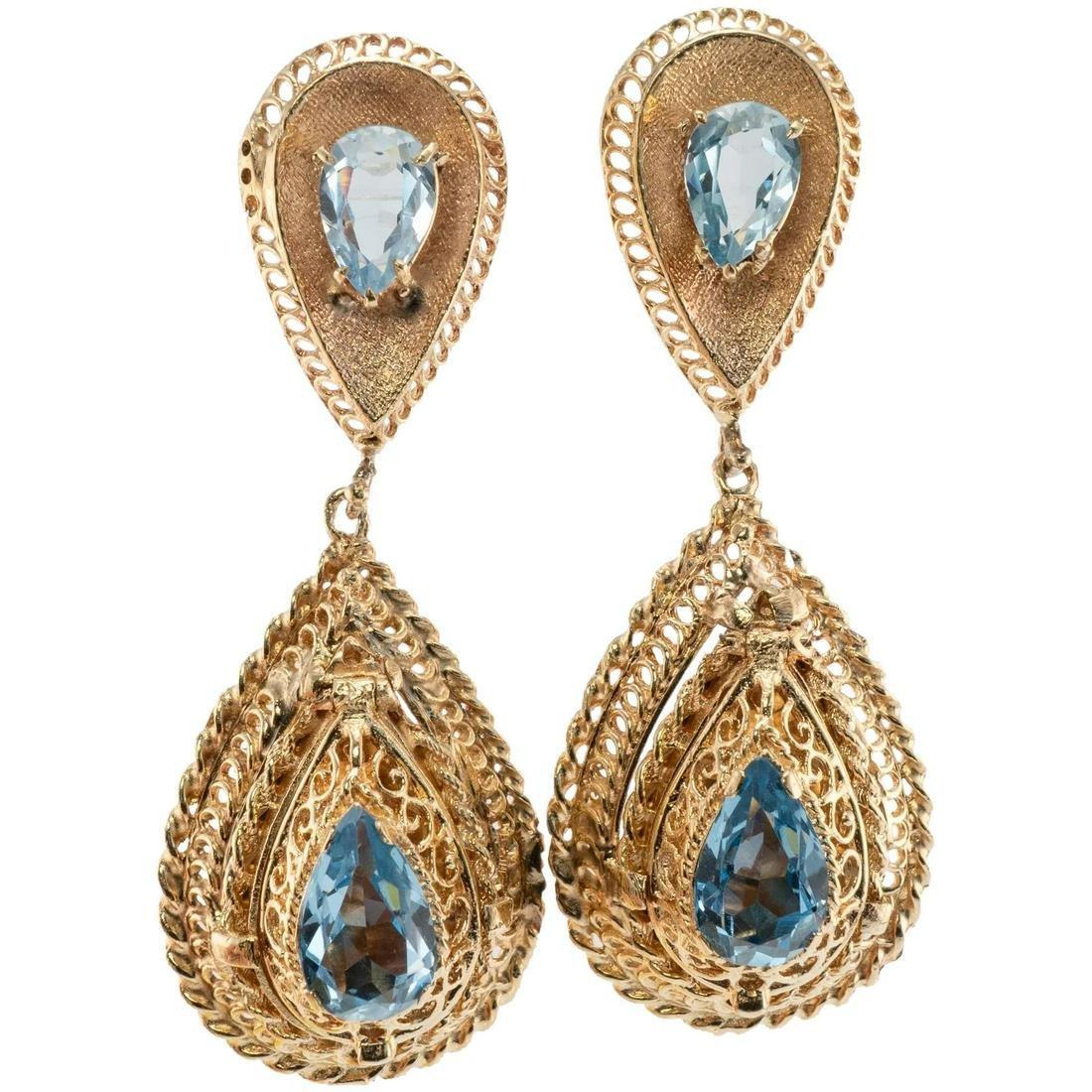 Blue Topaz Dangle Drop Earrings 14K Yellow Gold