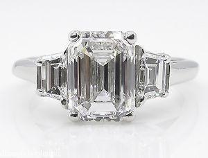 GIA 2.54CT Estate Vintage Emerald cut Diamond 3 stone