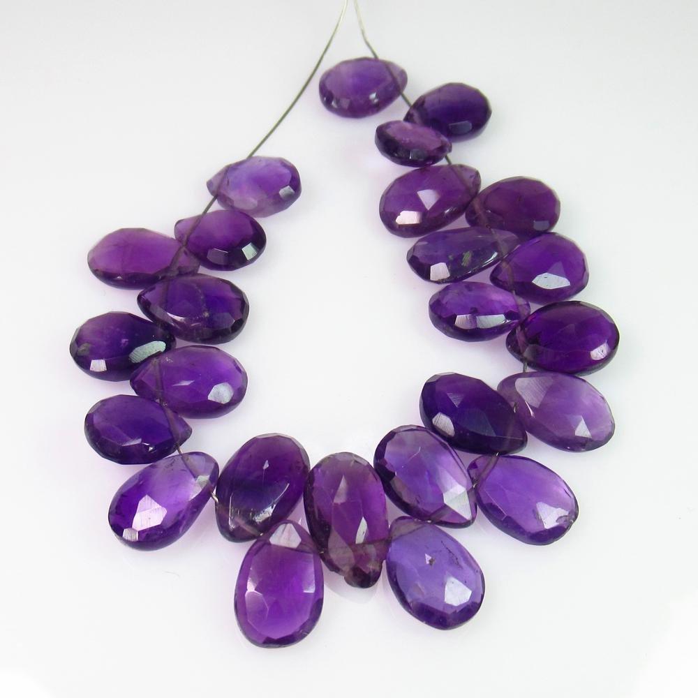 44.72 Ct Genuine 25 Purple Amethyst Drilled Pear Beads