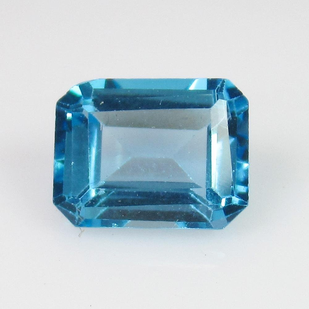 2.86 Ct Genuine Swiss Blue Topaz 9X7 mm Emerald Cut