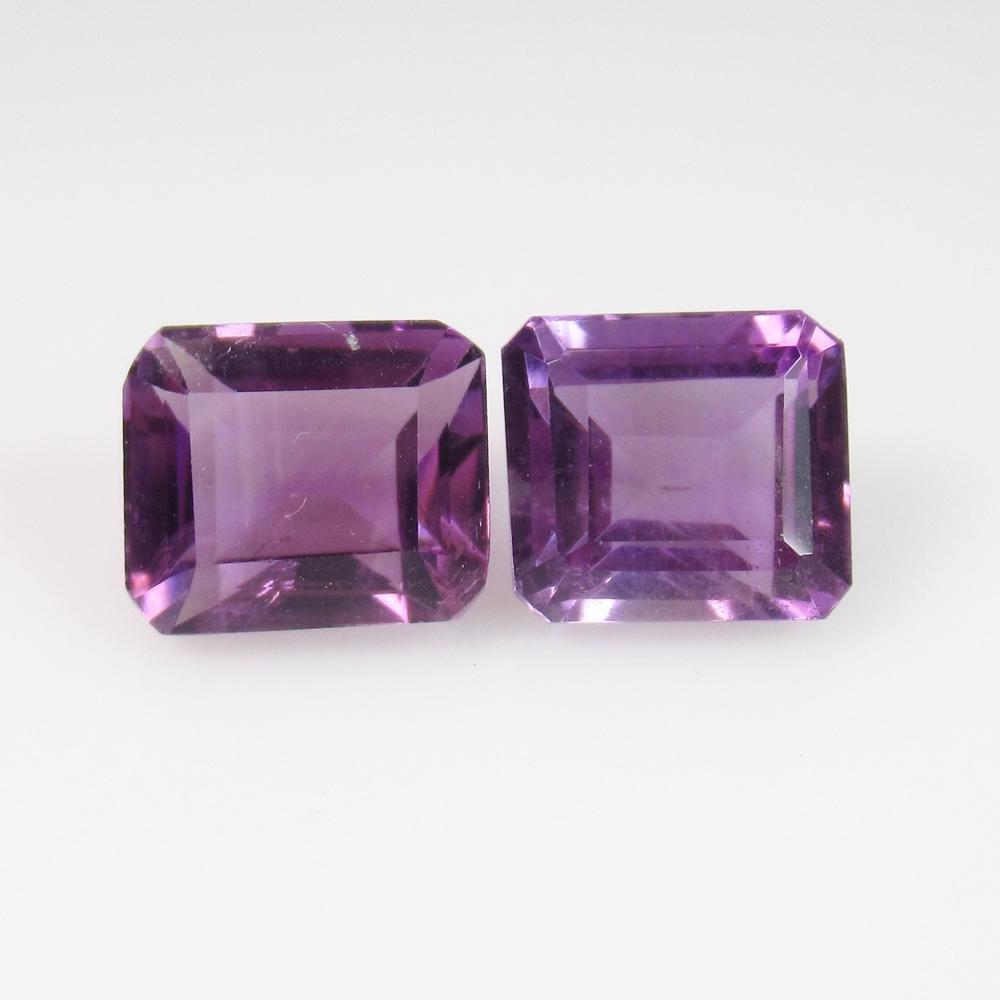 7.97 Ct Genuine Deep Purple Amethyst Emerald Cut Pair