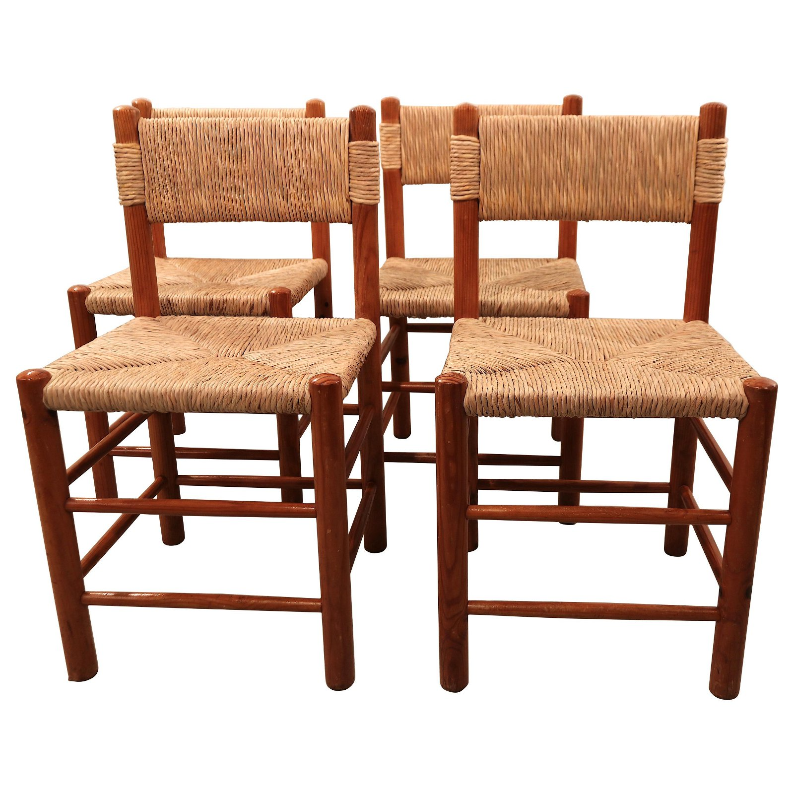 """Set of Four Charlotte Perriand """"Dordogne"""" Chairs for"""