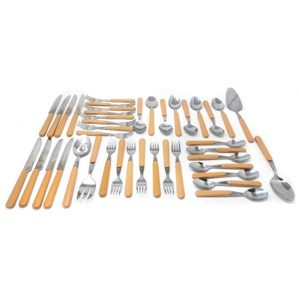 Mid-Century Modern NIC Stainless and Plastic Flatware -