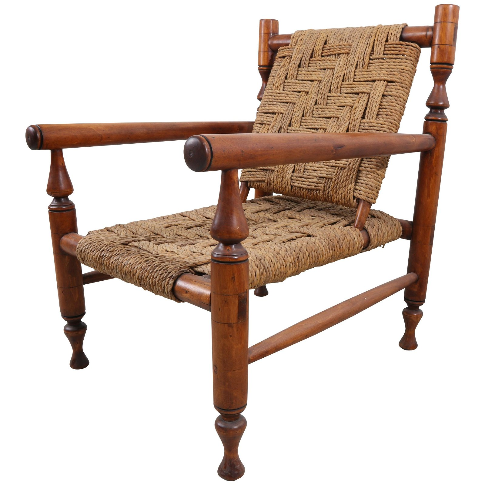 Charlotte Perriand Style Rope Lounge Chair with Pair of