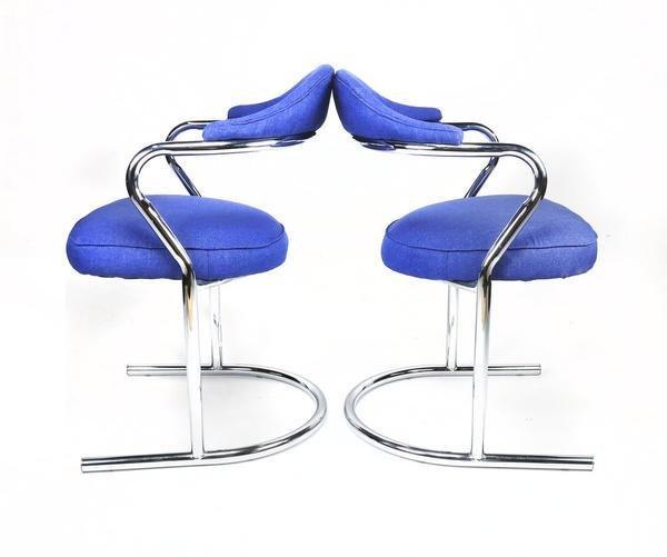 Pair of Anton Lorenz for Thonet Chrome Chairs