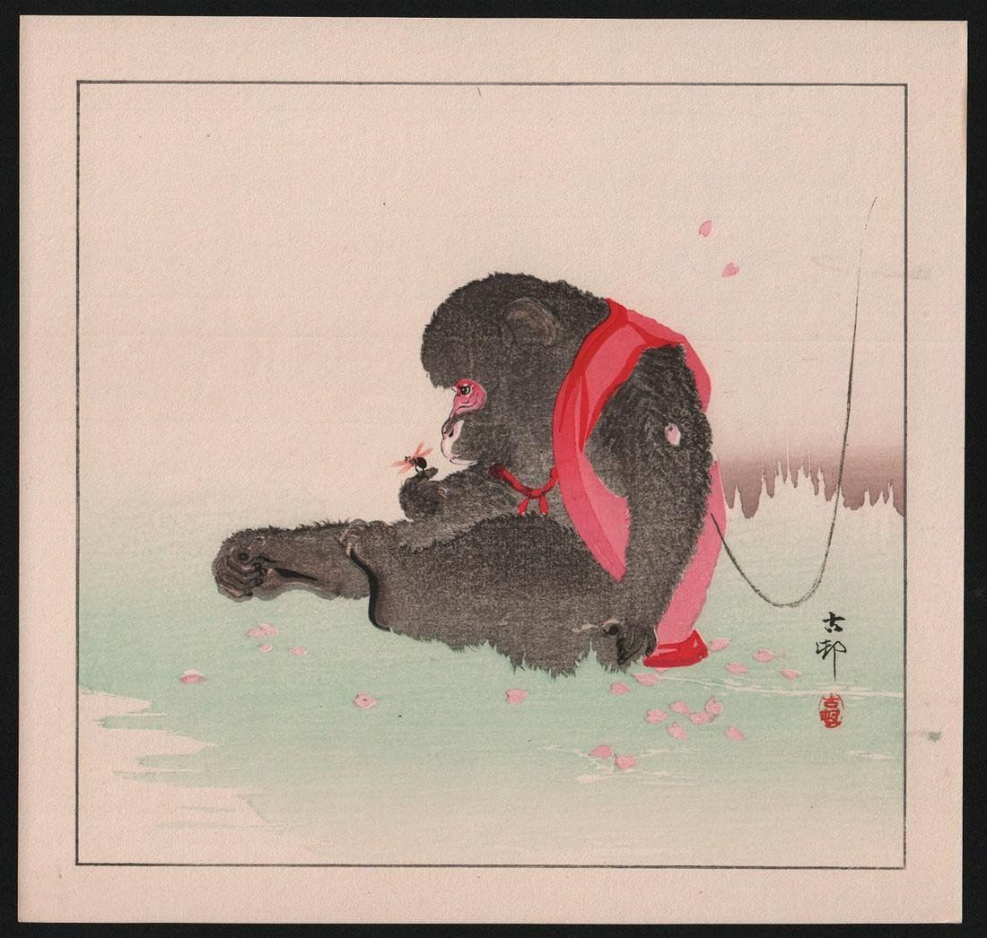 Ohara Koson: Seated Monkey gazes at insect on its hand
