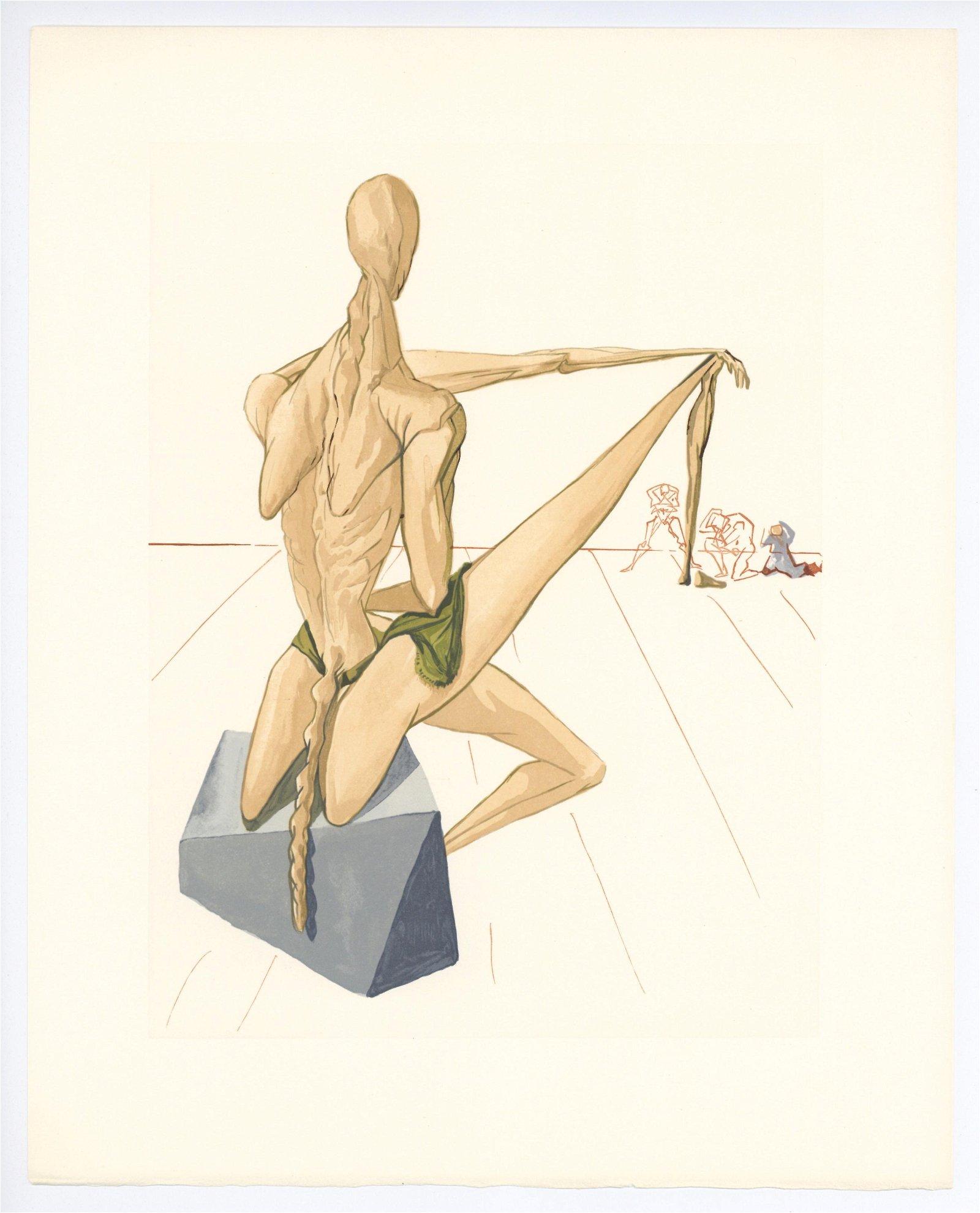 """Salvador Dali Divine Comedy woodblock engraving """"Minos"""""""