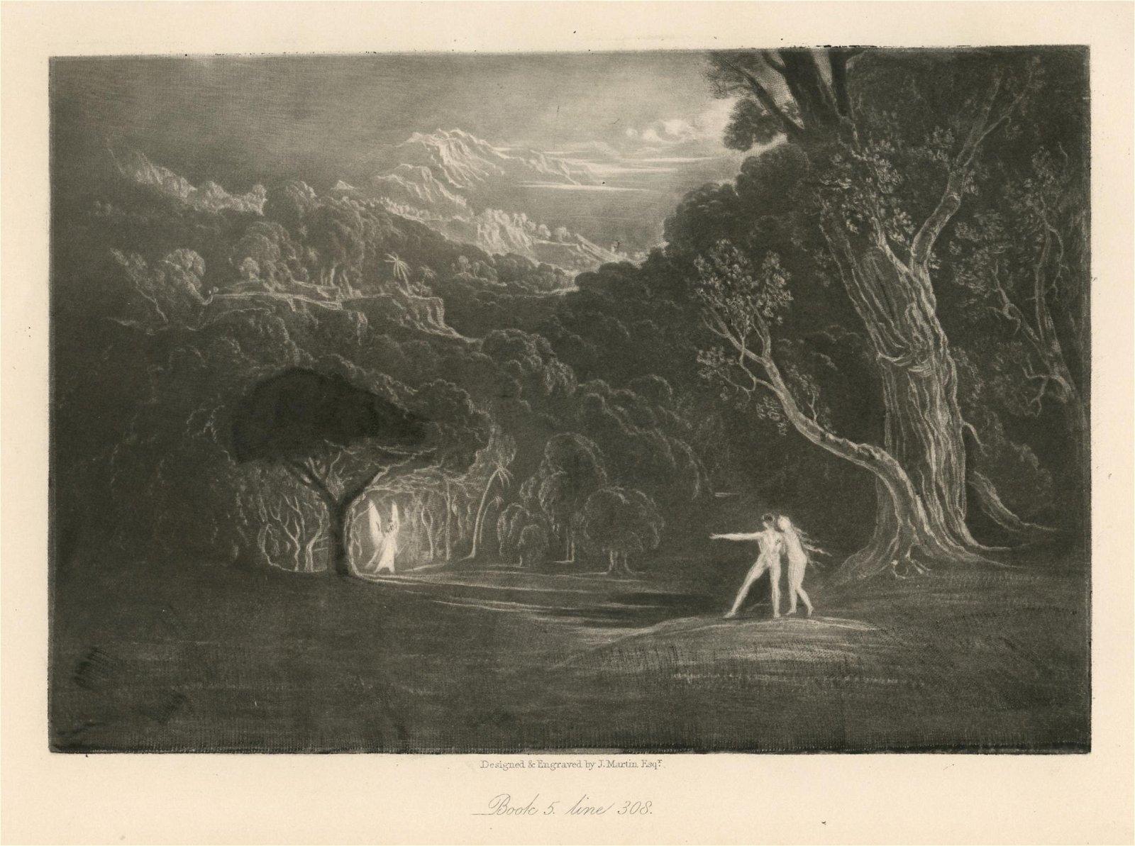 John Martin original mezzotint for Paradise Lost