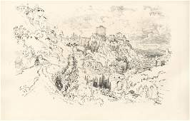 Joseph Pennell original lithograph Alhambra 1896