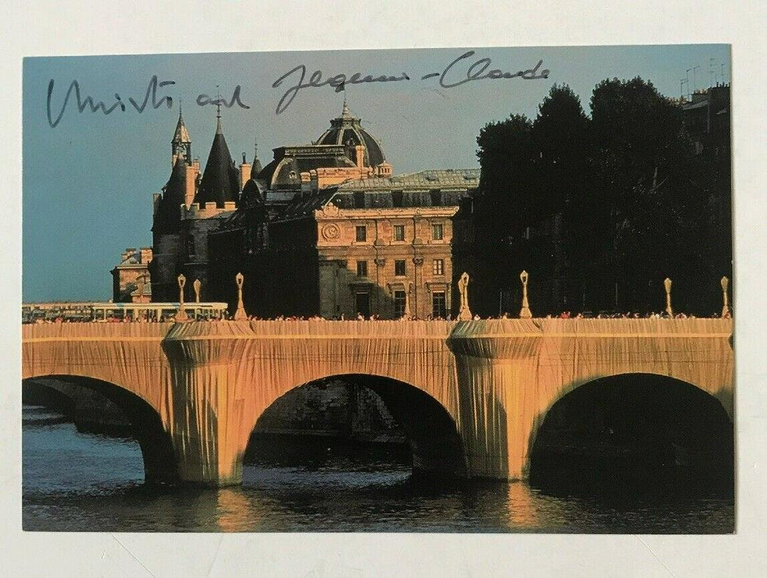 Signed CHRISTO & JEANNE CLAUDE Postcard 1985 Pont Neuf
