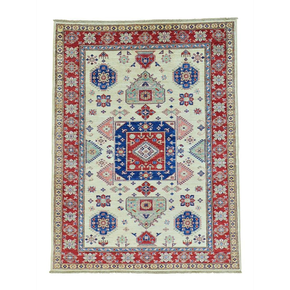 Super Kazak Geometric Design Pure Wool Hand Knotted Rug
