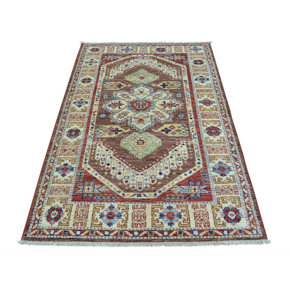 Super Kazak Tribal Design Pure Wool Hand-Knotted