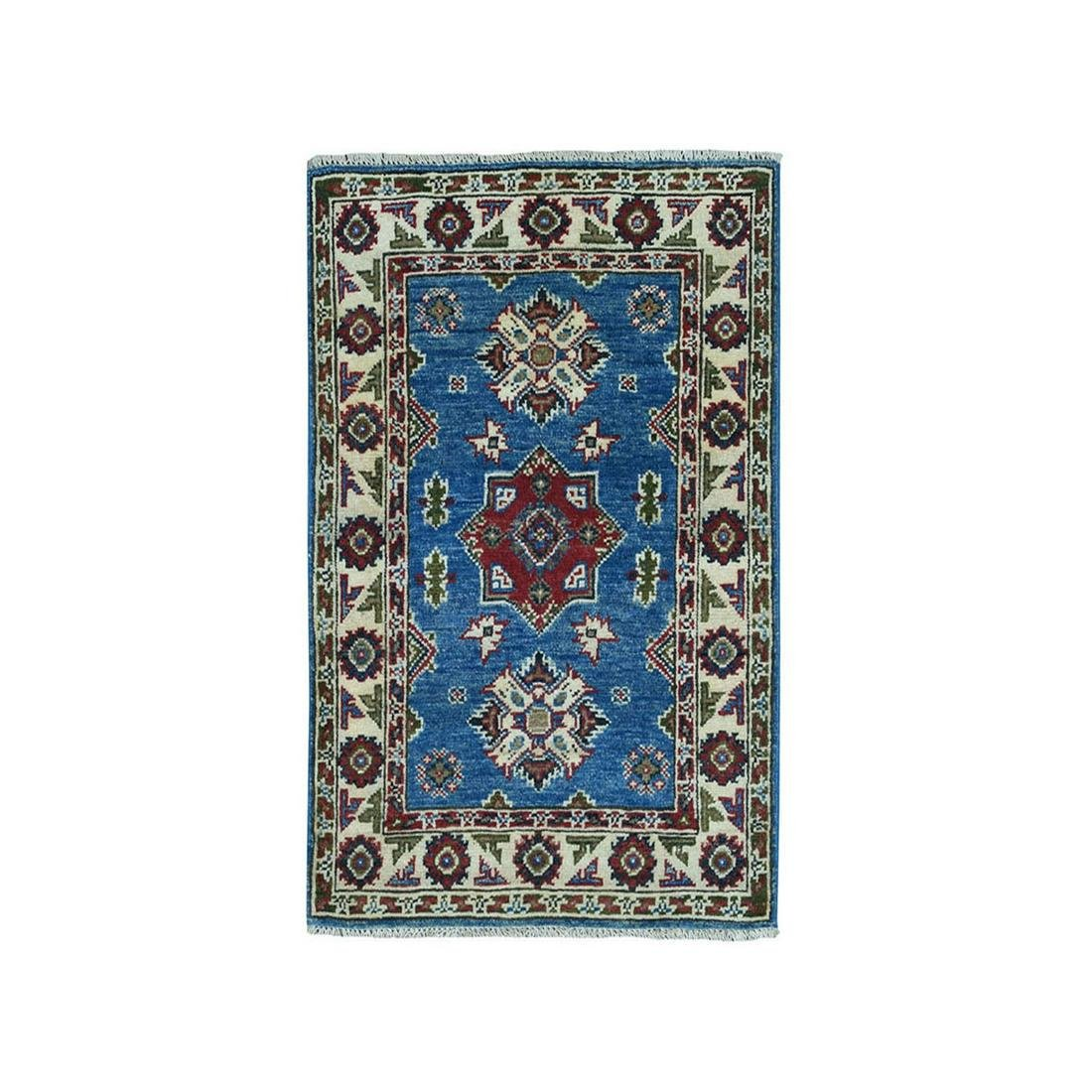 Blue Geometric Design Kazak Pure Wool Hand-Knotted