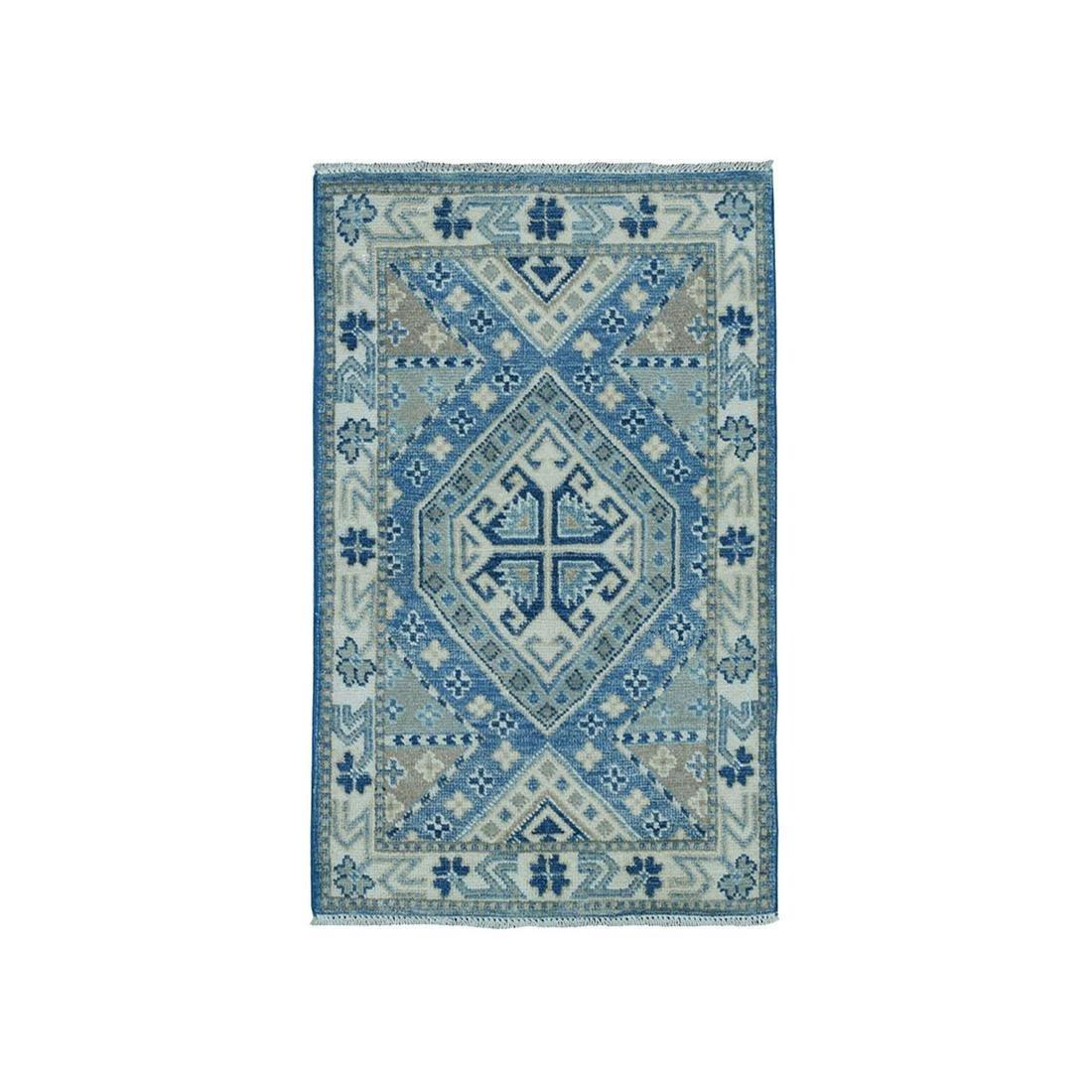 Hand-Knotted Pure Wool  Look Kazak Oriental Rug