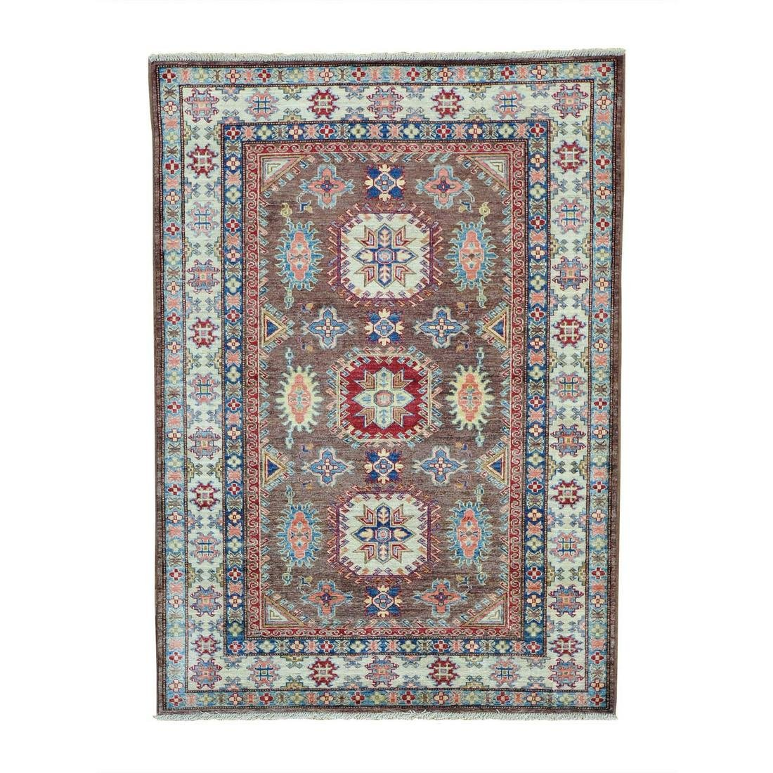 Tribal Design Super Kazak Pure Wool Hand Knotted