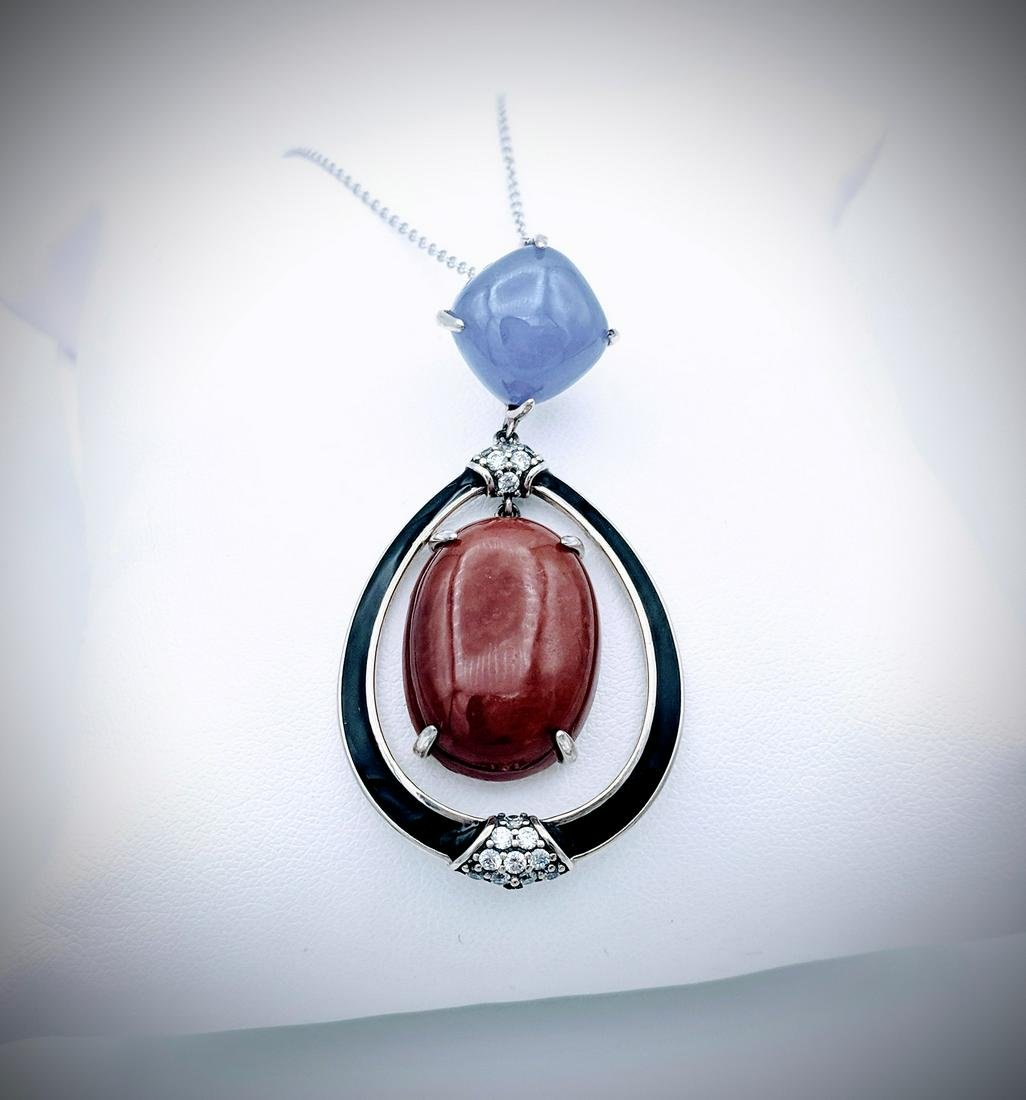 925 SS Necklace & Pendant w Oval Jasper, Violet Jade,